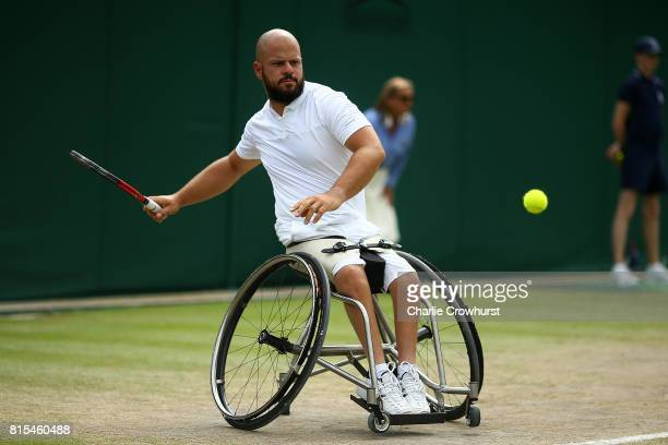 Stefan Olsson of Sweden in action during his Gentlemen's Wheelchair singles final against Gustavo Fernandez of Argentina on day thirteen of the...