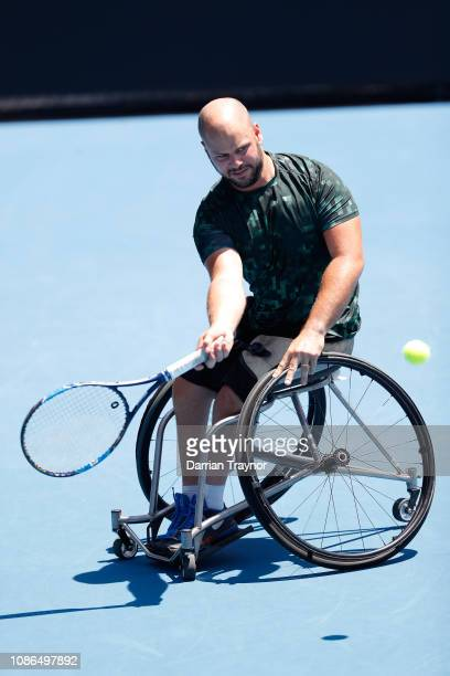 Stefan Olsson of Sweden plays a forehand in his Wheelchair Singles Quarter finals against Joachim Gerard of Belgium during day 10 of the 2019...