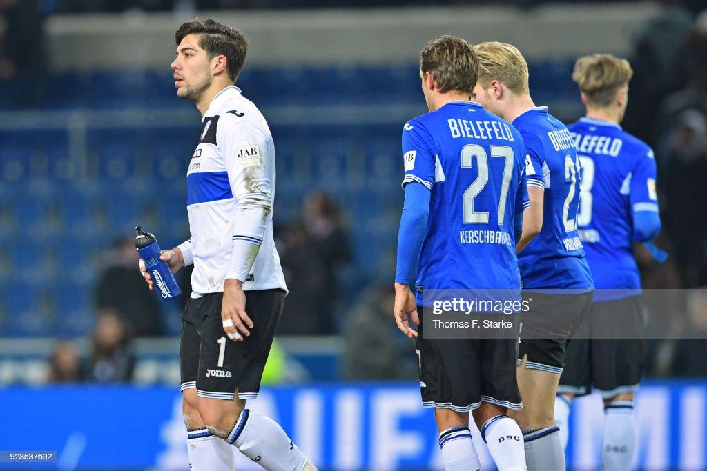 Stefan Ortega Moreno, Konstantin Kerschbaumer, Andreas Voglsammer and Brian Behrendt of Bielefeld look dejected after the Second Bundesliga match between DSC Arminia Bielefeld and SG Dynamo Dresden at Schueco Arena on February 23, 2018 in Bielefeld, Germany.