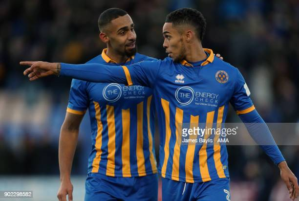 Stefan Payne and Max Lowe of Shrewsbury Town during The Emirates FA Cup Third Round between Shrewsbury Town and West Ham United at New Meadow on...