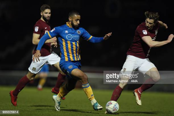 Stefan Payne of Shrewsbury Town and Ash Taylor of Northampton Town during the Sky Bet League One match between Northampton Town and Shrewsbury Town...
