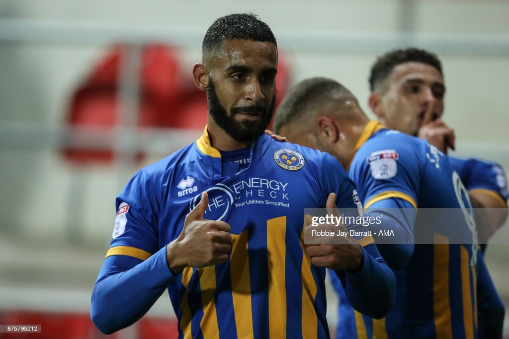 Stefan Payne of Shrewsbury Town celebrates after scoring a goal to make it 1-2 during the Sky Bet League One match between Rotherham United and Shrewsbury Town at The New York Stadium on November 16, 2017 in Rotherham, England.