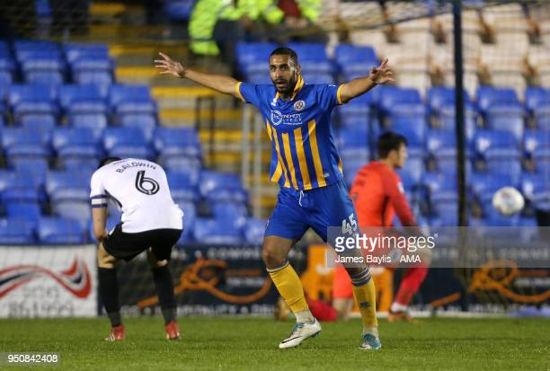 Stefan Payne of Shrewsbury Town celebrates after scoring a goal to make it 21 during the Sky Bet League One match between Shrewsbury Town and...
