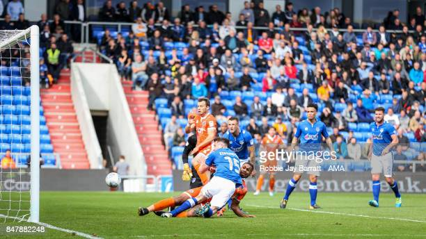 Stefan Payne of Shrewsbury Town scores a goal to make it 01 during the Sky Bet League One match between Oldham Athletic and Shrewsbury Town at...