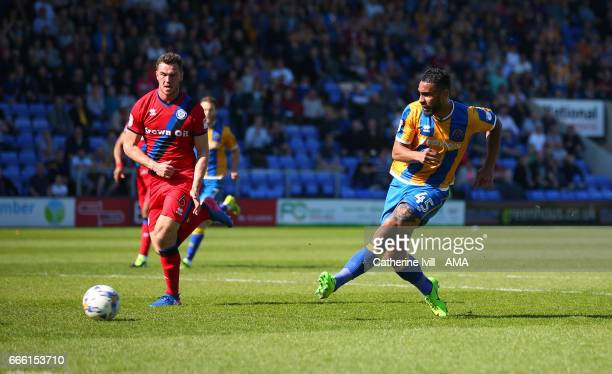 Stefan Payne of Shrewsbury Town scores a goal to make it 10 during the Sky Bet League One match between Shrewsbury Town and Rochdale at New Meadow on...