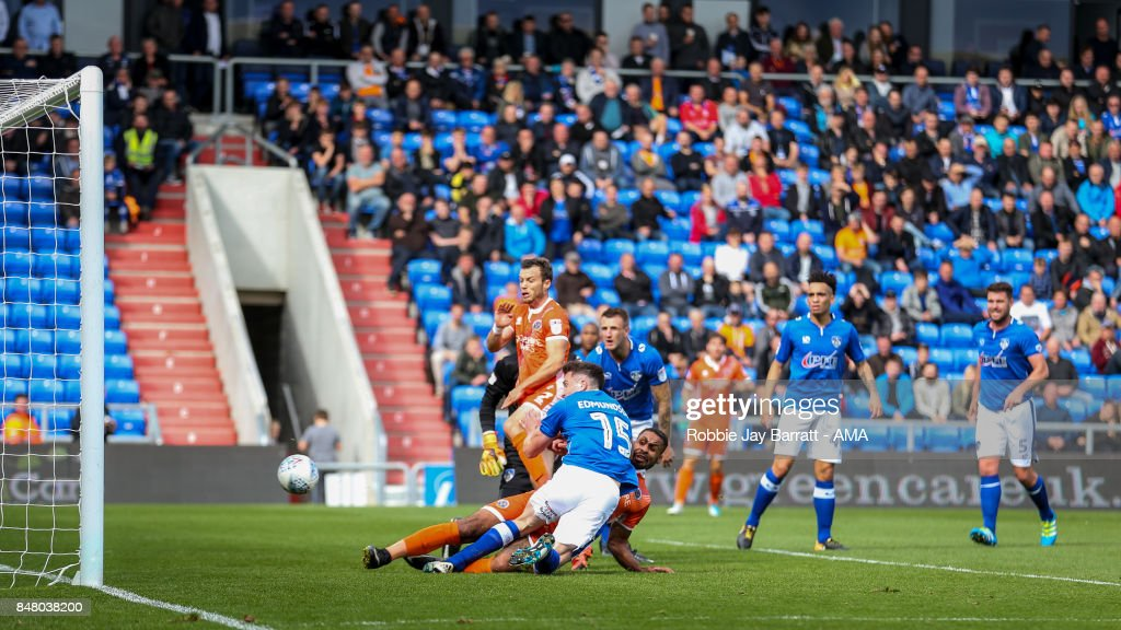 Stefan Payne of Shrewsbury Town scores a goal to make it 1-0during the Sky Bet League One match between Oldham Athletic and Shrewsbury Town at Boundary Park on September 16, 2017 in Oldham, England.