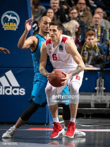 Stefan Peno of Alba Berlin and Paul Lacombe of AS Monaco during the game between Alba Berlin and AS Monaco at the Mercedes Benz Arena on january 3,...