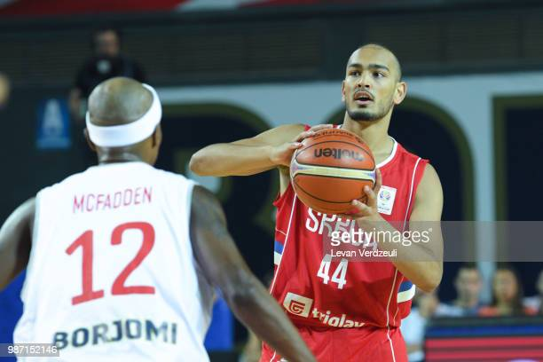 Stefan Peno of Serbia drives the ball during the FIBA Basketball World Cup Qualifier match between Georgia and Serbia at Tbilisi Sports Palace on...
