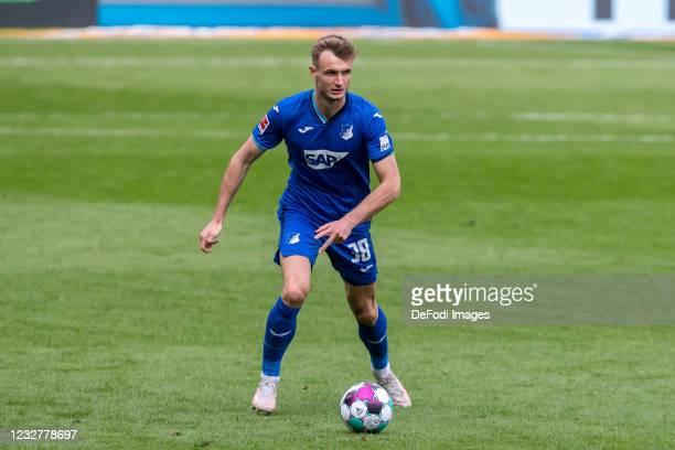 Stefan Posch of TSG 1899 Hoffenheim controls the Ball during the Bundesliga match between TSG Hoffenheim and FC Schalke 04 at PreZero-Arena on May 8,...