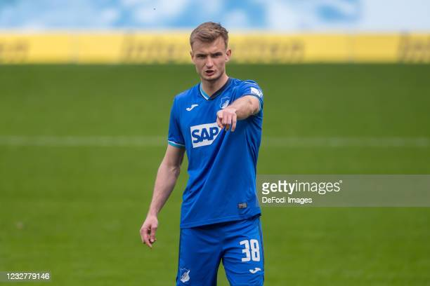 Stefan Posch of TSG 1899 Hoffenheim gestures during the Bundesliga match between TSG Hoffenheim and FC Schalke 04 at PreZero-Arena on May 8, 2021 in...