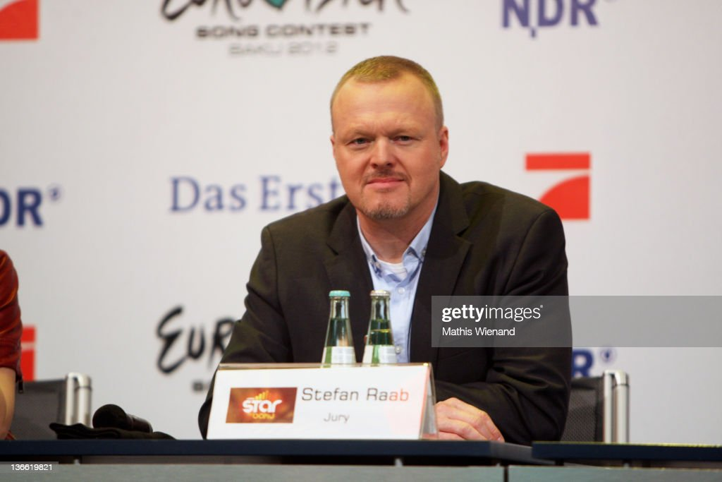 Stefan Raab attends the Press Conference of 'Our Star For Baku' at Brainpool Studios on January 9, 2012 in Cologne, Germany.