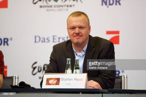 "Stefan Raab attends the Press Conference of ""Our Star For Baku"" at Brainpool Studios on January 9, 2012 in Cologne, Germany."