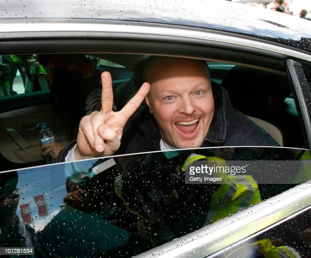 Stefan Raab, mentor of Eurovision Song Contest 2010 winner Lena Meyer-Landrut, is seen during the arrival at Hanover airport on May 30, 2010 in...