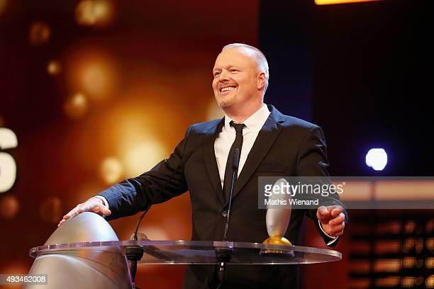 Stefan Raab speaks on stage after receiving the 'Ehrenpreis' at the 19th Annual German Comedy Awards at Coloneum on October 20, 2015 in Cologne,...