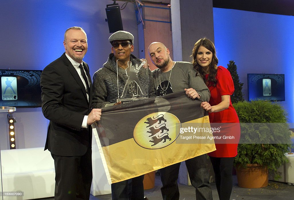 Stefan Raab, Xavier Naidoo, Kool Savas and Sandra Riess pose for the media after the 'Bundesvision Song Contest 2012' at the Max-Schmeling-Halle on September 28, 2012 in Berlin, Germany.