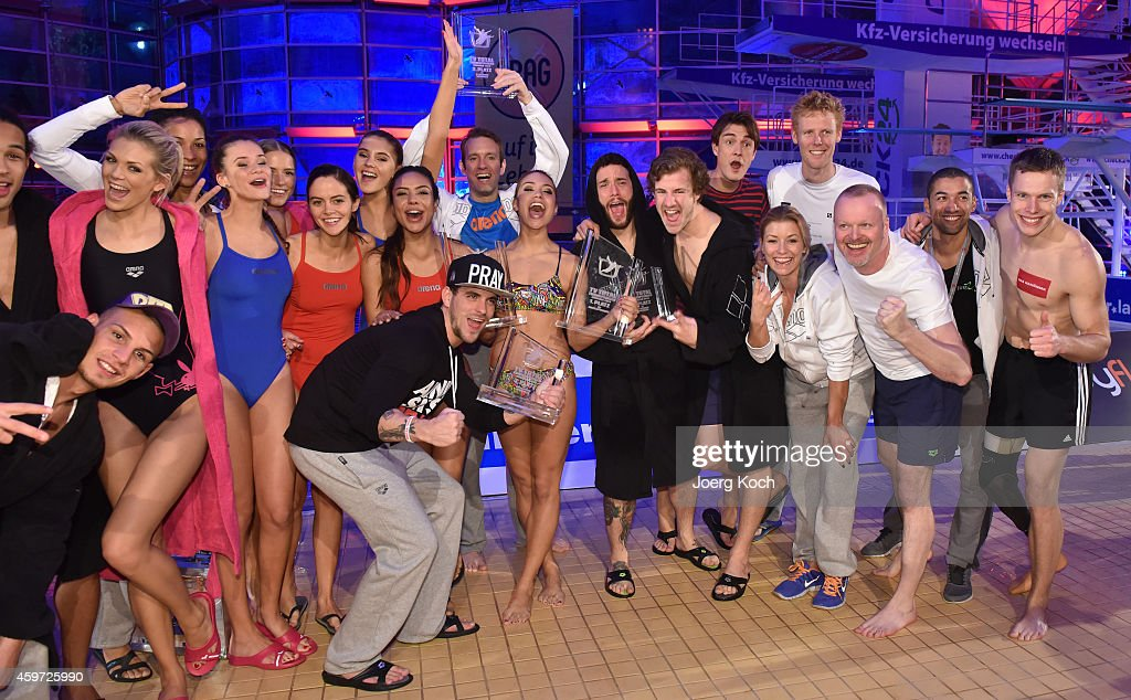 Stefan Rabb (3-R) and others attend the TV show 'TV Total Turmspringen' ('TV Total high diving') on November 29, 2014 in Munich, Germany.