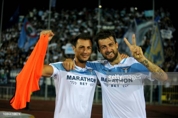 Stefan Radu and Francesco Acerbi of SS Lazio celebrate a winner game after the serie A match between Empoli and SS Lazio at Stadio Carlo Castellani...