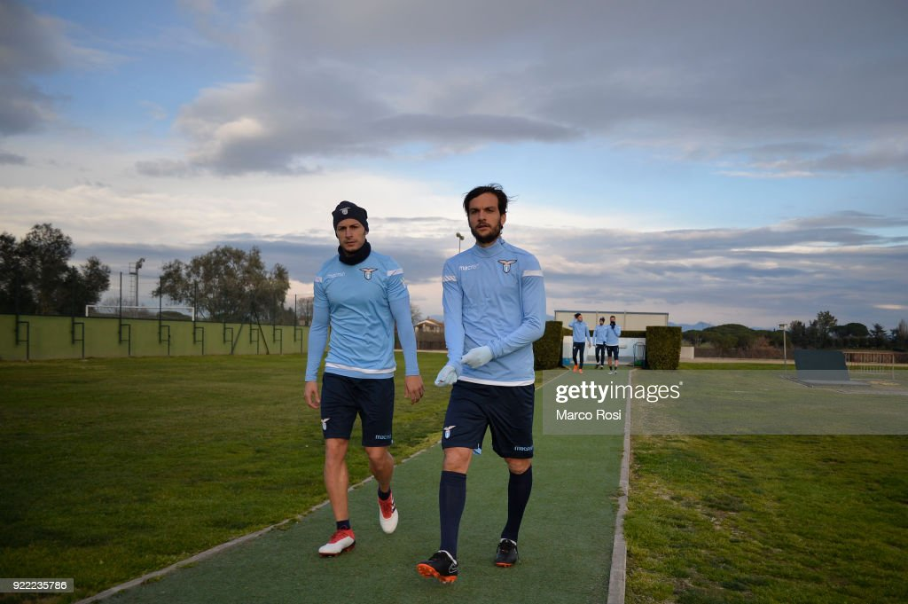 Stefan Radu and Marco Parolo of SS Lazio during the SS Lazio training session on the eve of their UEFA Europa Match against Steaua Bucharest on February 21, 2018 in Rome, Italy.