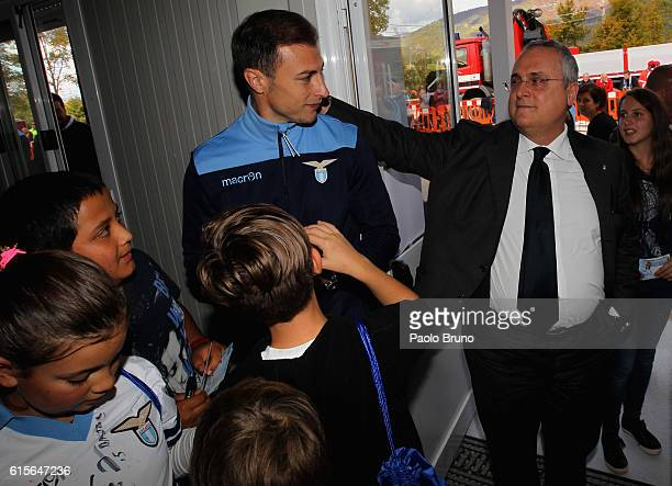 Stefan Radu and the President Claudio Lotito of SS Lazio visit the studens of Amatrice school near Rieti Italy Amatrice and surrounding area were...