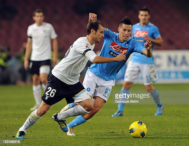 Stefan Radu of Lazio and Marek Hamsik of Napoli in action during the Serie A match between SSC Napoli and SS Lazio at Stadio San Paolo on November 19...