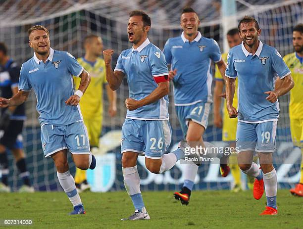 Stefan Radu of SS Lazio celebrates after scoring the team's second goal during the Serie A match between SS Lazio and Pescara Calcio at Stadio...