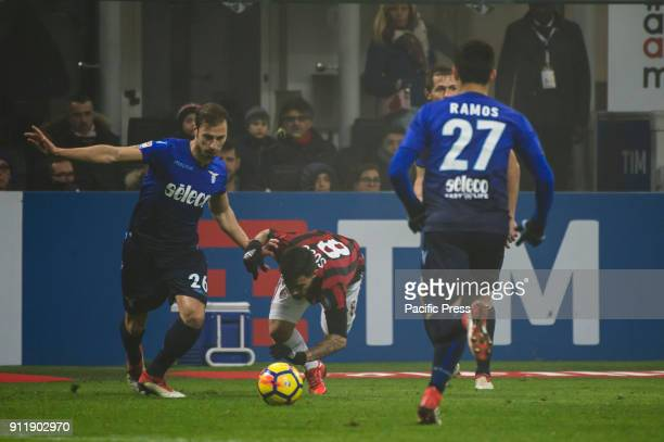 Stefan Radu of SS Lazio competes for the ball with Suso of AC Milan during Serie A football AC Milan versus SS Lazio Ac Milan wins 21