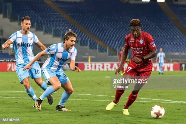 Stefan Radu of SS Lazio Patric of SS Lazio Aaron Leya Iseka of SV Zulte Waregem during the UEFA Europa League group K match between Lazio Roma and...