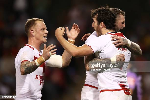 Stefan Ratchford of England celebrates with team mates after scoring a try during the 2017 Pacific Test Invitational match between England and Samoa...