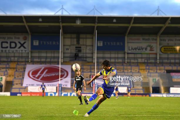 Stefan Ratchford of Warrington Wolves converts a kick during the Betfred Super League match between Warrington Wolves and Wakefield Trinity at The...