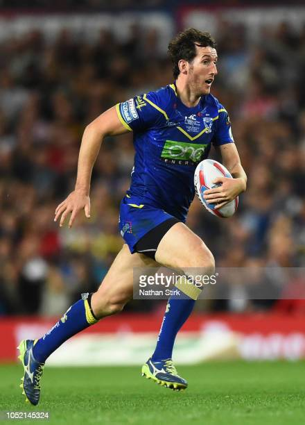 Stefan Ratchford of Warrington Wolves in action during the BetFred Super League Grand Final match between Warrington Wolves and Wigan Warriors at Old...