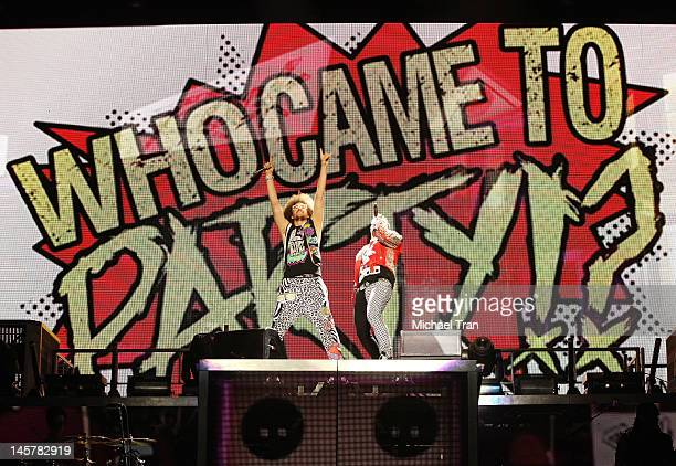 Stefan 'Redfoo' Gordy and Skyler 'SkyBlu' Gordy of LMFAO perform onstage during their LMFAO Sorry For Party Rocking Tour held at Staples Center on...
