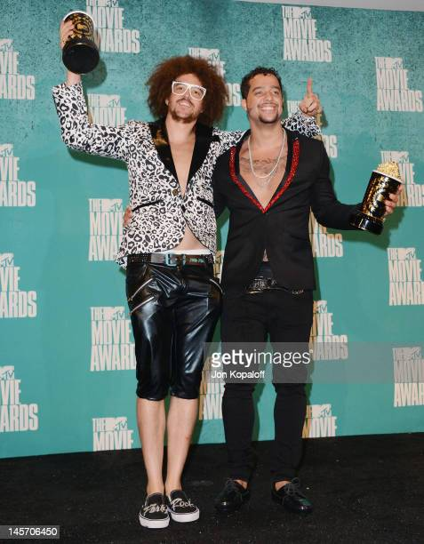 Stefan Redfoo Gordy and Skyler SkyBlu Gordy of LMFAO pose at the 2012 MTV Movie Awards Press Room at Gibson Amphitheatre on June 3 2012 in Universal...