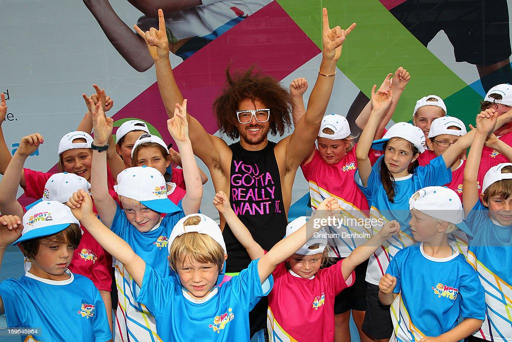 Stefan 'Redfoo' Gordy of the American electro duo LMFAO attends the MLC Hotshots session on Margaret Court Arena during day five of the 2013 Australian Open at Melbourne Park on January 18, 2013 in Melbourne, Australia.