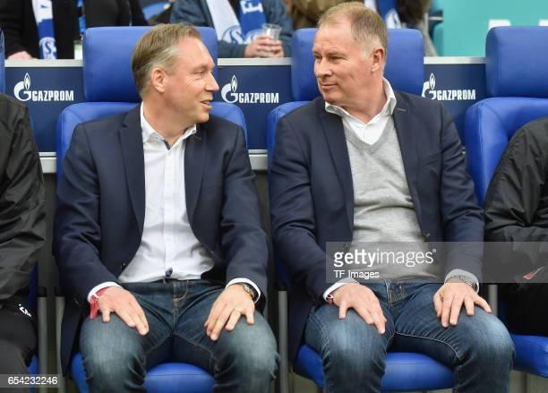 Stefan Reuter of Augsburg and Stephan Schwarz looks on during the Bundesliga match between FC Schalke 04 and FC Augsburg at VeltinsArena on March 12...