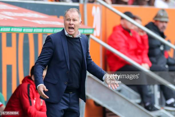 Stefan Reuter of Augsburg gestures during the Bundesliga match between FC Augsburg and 1 FC Koeln at WWK Arena on April 15 2017 in Augsburg Germany