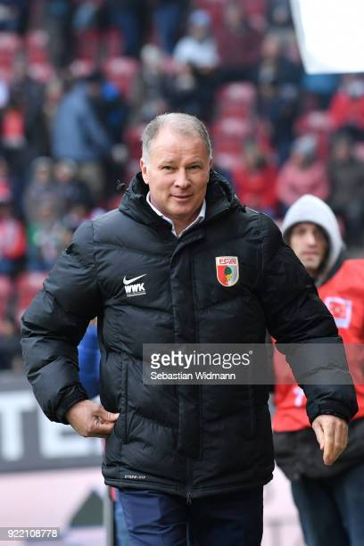Stefan Reuter of Augsburg looks on prior to the Bundesliga match between FC Augsburg and VfB Stuttgart at WWKArena on February 18 2018 in Augsburg...