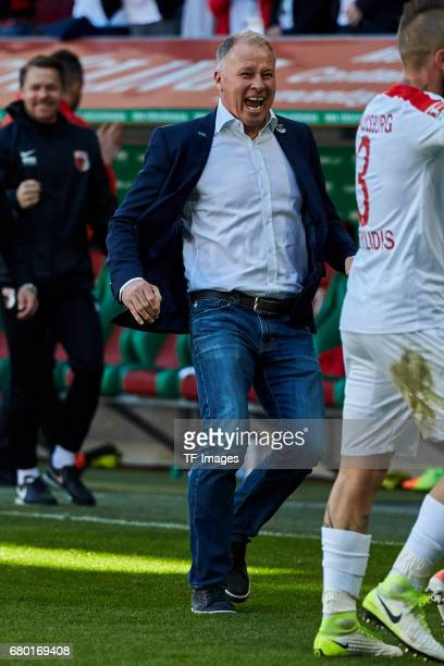 Stefan Reuter of Augsburg looks on uring the Bundesliga match between FC Augsburg and Hamburger SV at WWK Arena on April 30 2017 in Augsburg Germany