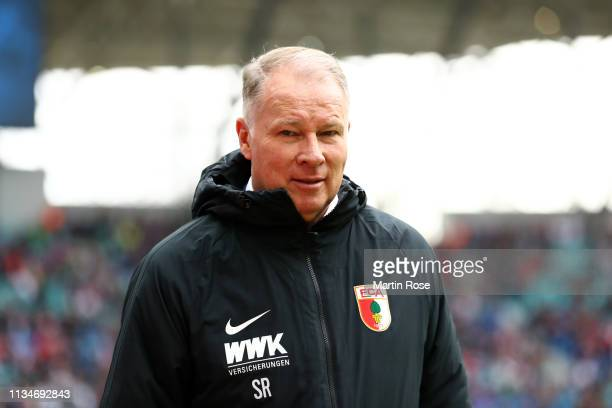 Stefan Reuter Sporting Director of FC Augsburg looks on prior to the Bundesliga match between RB Leipzig and FC Augsburg at Red Bull Arena on March...