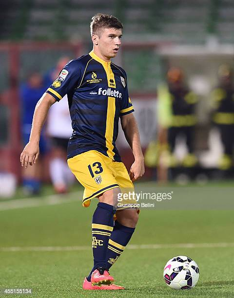 Stefan Riistovski of Parma in action during the Serie A match between AC Cesena and Parma FC at Dino Manuzzi Stadium on August 31 2014 in Cesena Italy