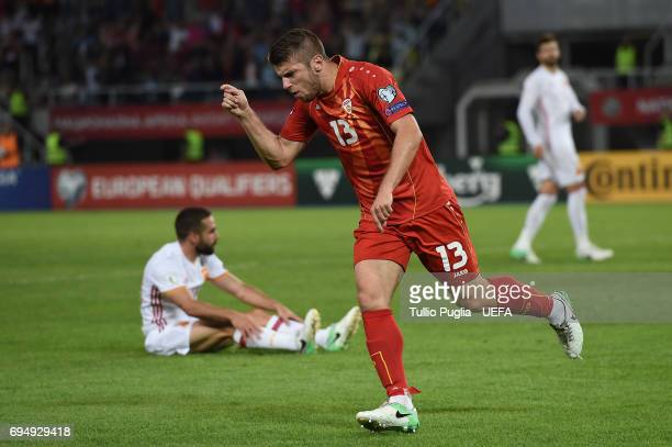 Stefan Ristovski of FYR Macedonia celebrates after scoring a goal during the FIFA 2018 World Cup Qualifier between FYR Macedonia and Spain at...