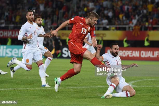 Stefan Ristovski of FYR Macedonia scores his goal during the FIFA 2018 World Cup Qualifier between FYR Macedonia and Spain at Nacional Arena Filip II...