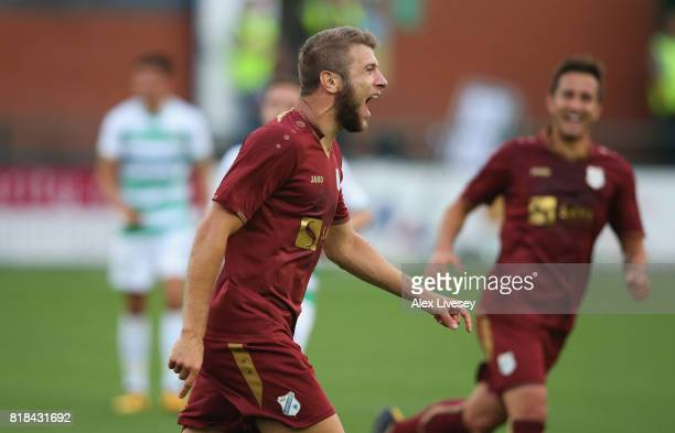 Stefan Ristovski of HNK RIjeka celebrates after scoring the fourth goal during the UEFA Champions League second qualifying round second leg match...