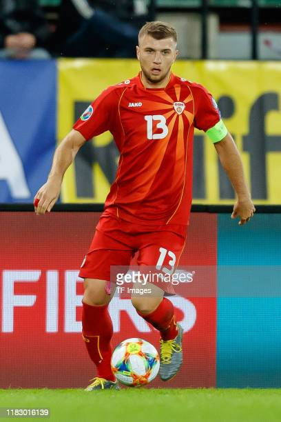 Stefan Ristovski of North Macedonia controls the ball during the UEFA Euro 2020 Qualifier between Austria and North Macedonia on November 16, 2019 in...