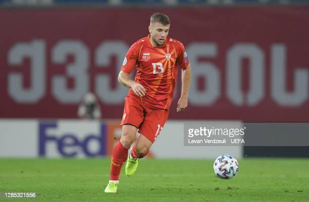 Stefan Ristovski of North Macedonia in action during the UEFA EURO 2020 Play-Off Final between Georgia and North Macedonia at Dinamo Arena on...