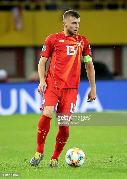 Stefan Ristovski of Northern Macedonia controls the ball during the UEFA EURO 2020 Qualifier between Austria and North Macedonia at the Ernst Happel...