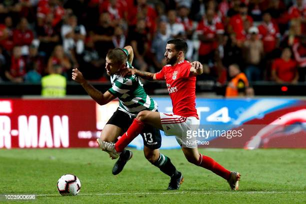 Stefan Ristovski of Sporting CP vies for the ball with Rafa Silva of SL Benfica during Primeira Liga 2018/19 match between SL Benfica vs Sporting CP...