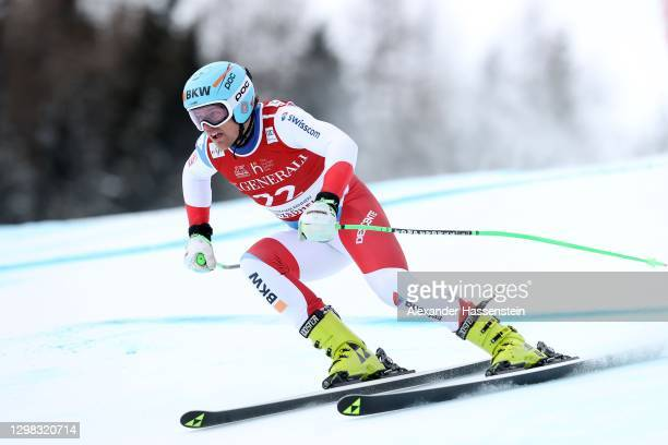 Stefan Rogentin of Switzerland competes during the Audi FIS Alpine Ski World Cup Super Giant Slalom Hahnenkamm Rennen at Streif on January 25, 2021...