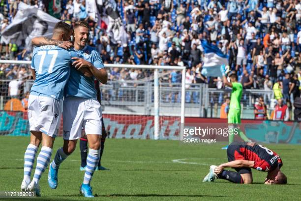 Stefan Rudu of Lazio celebrates after scoring a goal during the Serie A match between Lazio and Genoa at Olimpico Stadium