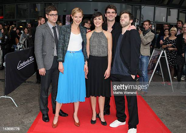 Stefan Ruppe, Lisa Bitter, Lucie Heinze, Marian Kindermann and Martin Aselmann attend the 'Das Hochzeitsvideo' World Premiere at Cinedome Cologne on...