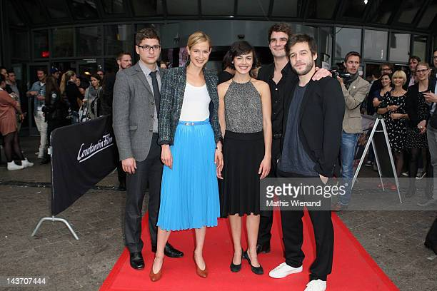 Stefan Ruppe Lisa Bitter Lucie Heinze Marian Kindermann and Martin Aselmann attend the 'Das Hochzeitsvideo' World Premiere at Cinedome Cologne on May...